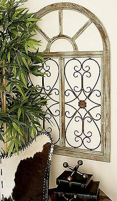 2 Of 12 Distressed Shabby Rustic Wood Metal Scroll Garden Gate Arched  Window Wall Decor