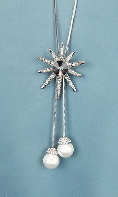 Ella Jonte Kette silber mit Blumen Anhänger lange Halskette Blume