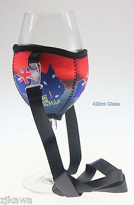 4x Wine Glass Cooler Insulator Holder with Lanyard AUSTRALIA Souvenir 2