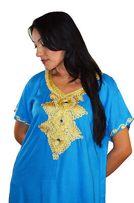 Moroccan Caftan Kaftan Women African Beach Summer Long Dress Light Blue