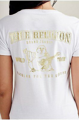 True Religion Women's Metallic Gold Puff V-Neck Tee T-Shirt in White
