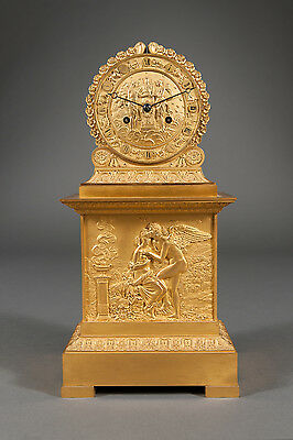 French Antique Charles X Ormolu Bronze Mantel Clock Depicting Cupid & Psyche 2