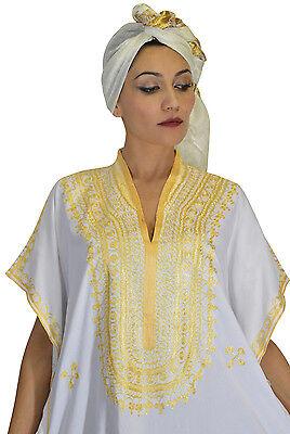Moroccan Caftan Women kaftan Abaya Beach Cover Summer Long Dress Cotton White