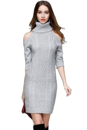 more photos 28ca2 f1d22 ELEGANTE ABITO VESTITO invernale in maglia donna maxi maglione collo alto