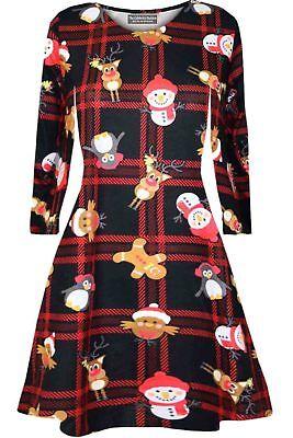 Girls Kids Christmas Santa Reindeer Novelty Long Sleeve Skater Party Swing Dress