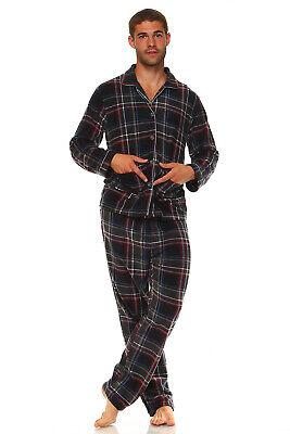 Men's Long Sleeve Pajama Lounge Set Comfortable PJ's Soft Fleece Plaid Sleepwear 3