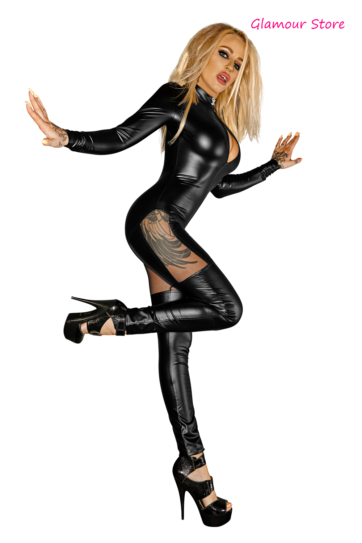 Sexy Tutina Catsuit APERTA NERA Wetlook Tulle Zip 3 vie intimo lingerie GLAMOUR
