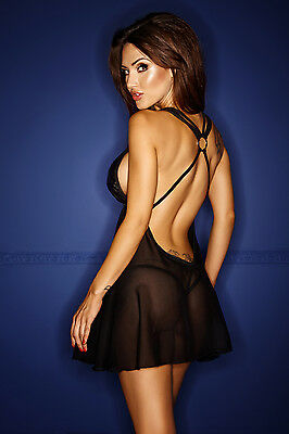 Negligee Dessous Minikleid schwarz neu Chemise Reizwäsche Clubwear Damenkleid 3
