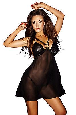 Negligee Dessous Minikleid schwarz neu Chemise Reizwäsche Clubwear Damenkleid 4