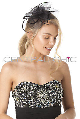 Central Chic Elegant Fascinator Hat Wedding Bridal Feather Hair Clip Races Ascot 4