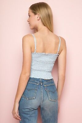 bef043ed90e Brandy Melville pastel blue/yellow floral smocked crop Ally tank top NWT 5