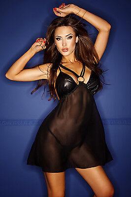 Negligee Dessous Minikleid schwarz neu Chemise Reizwäsche Clubwear Damenkleid 5