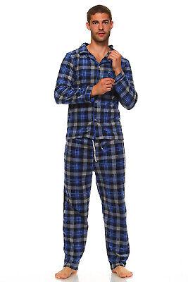 Men's Long Sleeve Pajama Lounge Set Comfortable PJ's Soft Fleece Plaid Sleepwear 5