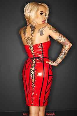 SEXY abito CORSETTO rosso/nero vestito VINILE S/M/L (40,42,44) fashion GLAMOUR ! 3