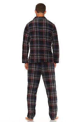 Men's Long Sleeve Pajama Lounge Set Comfortable PJ's Soft Fleece Plaid Sleepwear 2