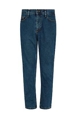 Mens Casual 100% Cotton Zip Fly Blue Pants Regular Fit Straight Leg Denim Jeans 2
