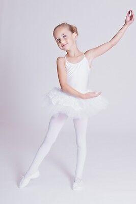 "tanzmuster Kinder Träger Ballett Tutu ""Antonia"" weiß Ballettkleid Ballett Trikot 2"