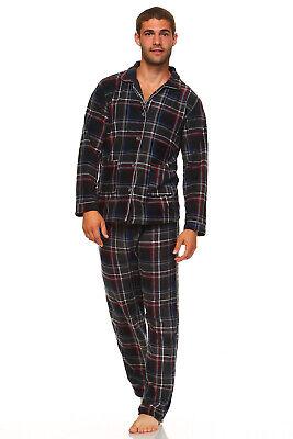 Men's Long Sleeve Pajama Lounge Set Comfortable PJ's Soft Fleece Plaid Sleepwear 4