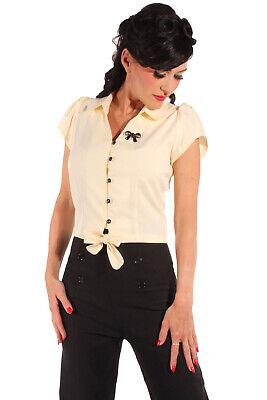 Maritimes Küstenluder VADA Bow 50s Schleifen Kurzarm Shirt SCHWARZ Rockabilly