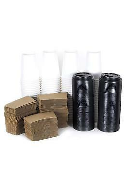 100 Set 12 Oz. Disposable Hot Tea Paper Coffee Cups With Lids Sleeves Stirrers 4