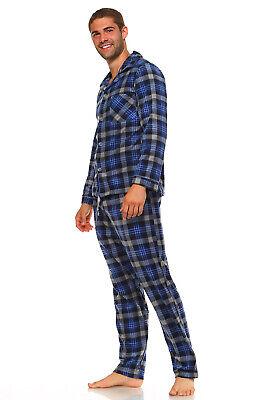 Men's Long Sleeve Pajama Lounge Set Comfortable PJ's Soft Fleece Plaid Sleepwear 6