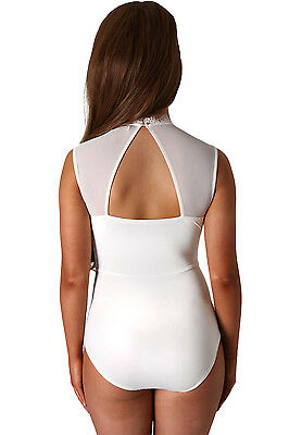 ... Ladies White Sheer Lace High Neck Cut Out Back Bodysuit Padded Size 8  10 12 14 823bb6cc6