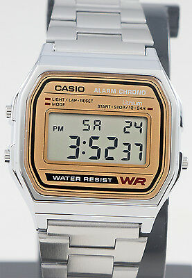 Casio Classic Digital Stainless Steel Alarm Stopwatch Casual Watch A158WEA-9 New 5