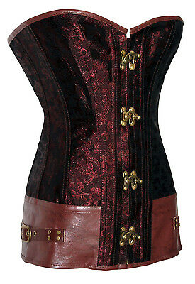 Corset Bustier Serre-Taille Marron  Steampunk Gothique Baroque Vintage + String 2