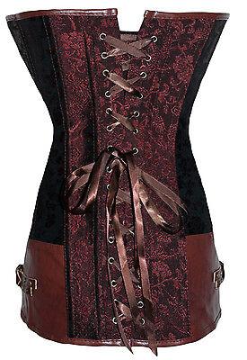 Corset Bustier Serre-Taille Marron  Steampunk Gothique Baroque Vintage + String 3