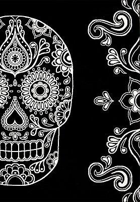 Designer Teppich Modern Schwarz Weiß Kunstvoll Totenkopf Motiv - NEU