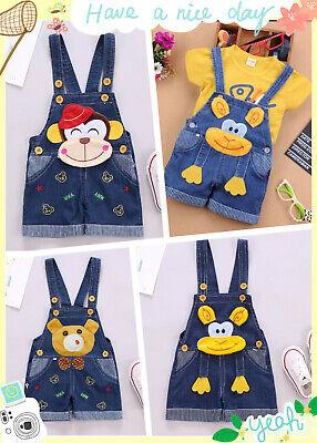 1x Bear Kids Boys Girls Trousers Bib Pants Soft Jeans 1-2Years 75-85cm size17 2