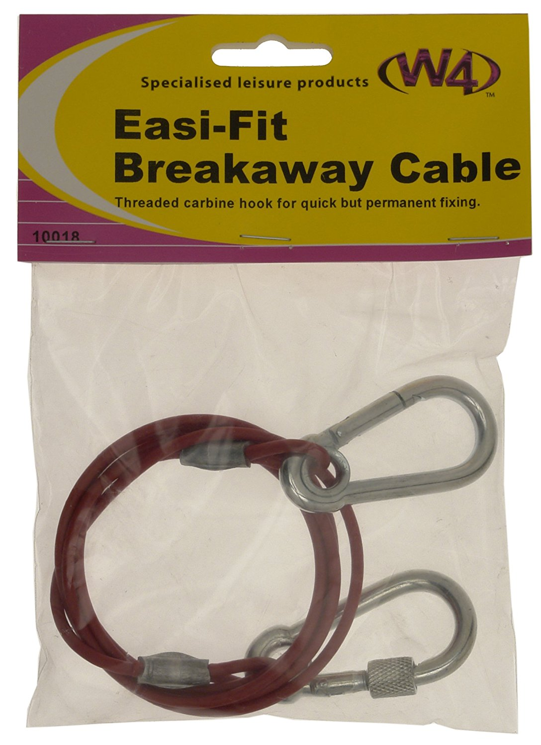 W4 Easy Quick Fit Breakaway Cable Threaded Carbine Hook Towing Caravan Trailer