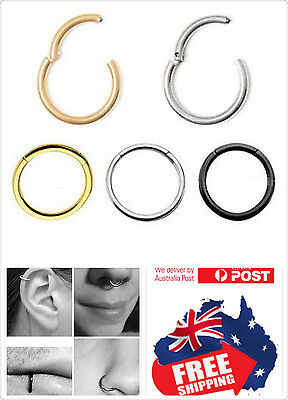 Surgical Steel Hinged Segment Clicker Hoop Ring Lip Ear Nose Body Piercing 1pc 2