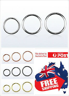 925 Sterling Silver Seamless Hoop Ring 22g 20g 18g 16g Nose Ear Lip Piercing 1pc 2