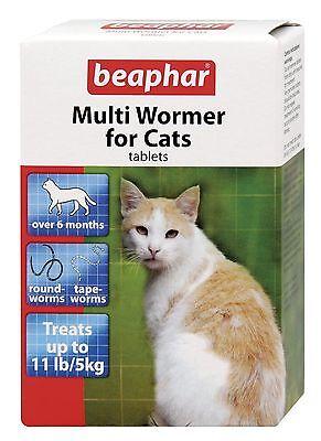 Beaphar Cat Kitten Multi Wormer Worming Roundworm Tapeworm Tabs Treatment 12pk