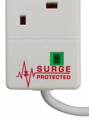 5 Way Gang 2m Switched Surge Protect Extension Lead with 2 USB Ports Portable UK 3