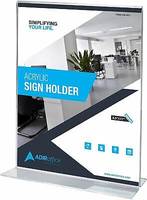 AdirOffice 8.5 in x 11 in Table Card T-Shaped Base Acrylic Sign Holder 6 Pack 2