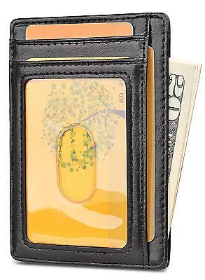 Buffway Slim mini ID holder card case front pocket Leather Wallet for Men Women 6