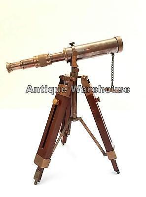 Nautical Scope Pirate Spyglass Brass Telescope With Wooden Tripod Decor New Gift