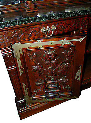 Gothic Revival Walnut and Burl Grand Scale Sideboard/Back Bar c. 1890 #7416 4
