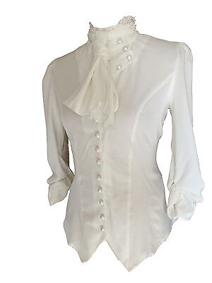 9ca264860278d4 ... White Ivory Gothic Victorian Steampunk Ruffle Vamp Renaissance Pirate  Blouse Top 2