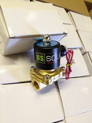 U. S. Solid 1/2'' 12V DC Brass Electric Solenoid Valve Normally Closed Air, Gas
