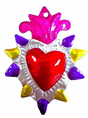 Mexican Milagros Charms Mexican Folk Art Sacred Heart Tin Ornaments Ex Voto Nich 4