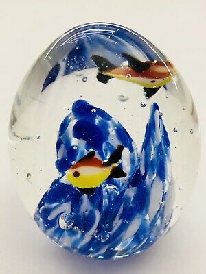 Vtg Nautical Glass Paperweight Fish Cobalt Blue White Swirls Bubbles Hand Blown 5