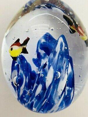 Vtg Nautical Glass Paperweight Fish Cobalt Blue White Swirls Bubbles Hand Blown 7