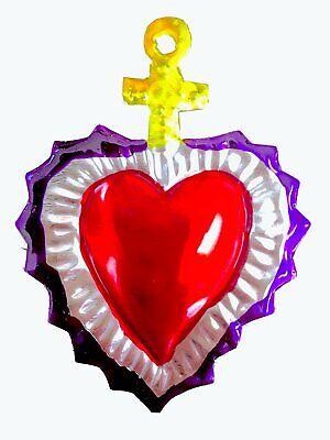 Mexican Milagros Charms Mexican Folk Art Sacred Heart Tin Ornaments Ex Voto Nich 6