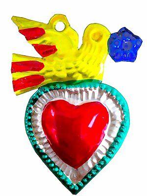 Mexican Milagros Charms Mexican Folk Art Sacred Heart Tin Ornaments Ex Voto Nich 5