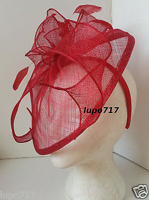 Red Sinamay Feathers Hat Fascinator Wedding Ascot Race Hen Party Ladies Day New 3