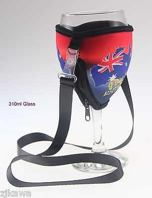 4x Wine Glass Cooler Insulator Holder with Lanyard AUSTRALIA Souvenir 4