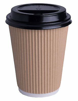 500 x 8oz KRAFT 3-PLY RIPPLE DISPOSABLE PAPER COFFEE CUPS - UK MANUFACTURER 3